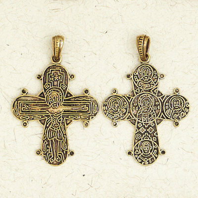 Medieval Double-Sided Christian Cross-Bronze/European/Gold/Jewelry/Pendant