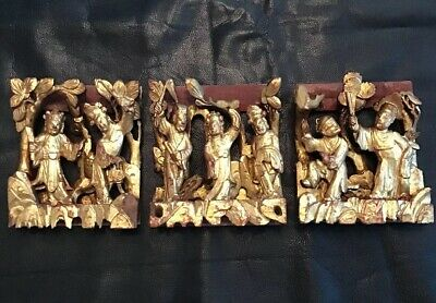 Antique Vintage Asian Chinese Deeply Carved Gold Gilt Trio Wood Panel Carvings