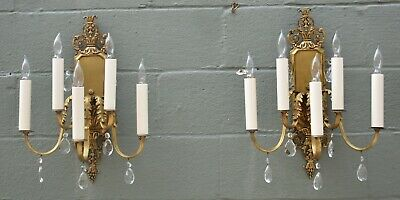Pair Heavy Ornate Brass French Style Five Arm Wall Sconces Cut Crystal Drops
