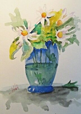 Floral still life vase daisy watercolor painting contemporary art Delilah