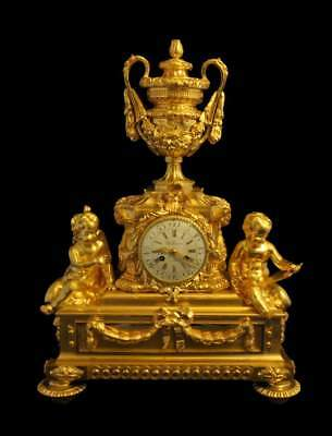 "Antique French Gold Plated Bronze Louis Xvi Mantel Clock By ""charles Dutertre"""