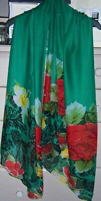 Ladies Stunning Large Green Floral Scarf - New