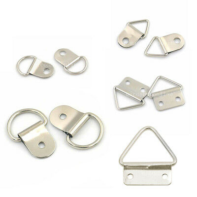 Metal Triangle D Ring Picture Frame Hanger Screws Strap 5 Styles Silver Choice