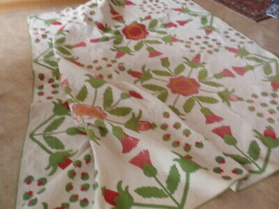 Antique Tulip Flower Red White Large Quilt With Issues Tiny Stitches 96 x 96""