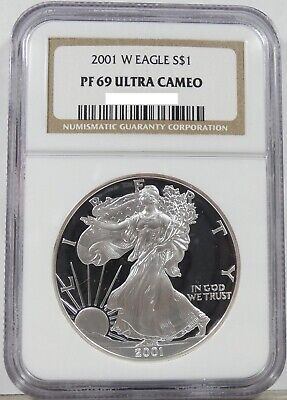 2001 W Proof American 1 oz SILVER Eagle PR/PF69 Ultra Cameo NGC Brown Label