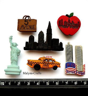 NEW YORK City Craft Buttons 1ST CLASS POST America USA Dress It Up Holiday Fun