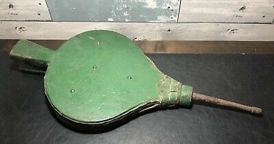 Antique Fireplace Bellows Hand Carved Decorated Painted Green