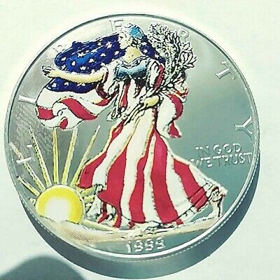 1999 American silver eagle Painted obverse .999 1 oz silver great display piece
