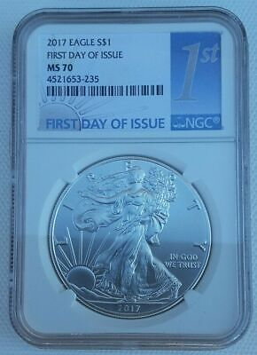 2017 American Silver Eagle 1oz NGC MS70 First Day of Issue 1st Label