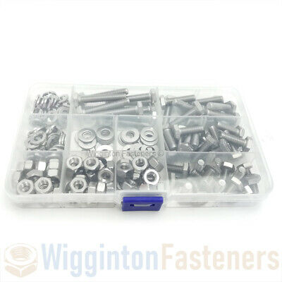 "1/4"" UNF Nut Washer & Fully Threaded Hex Set Screw Bolts A2 STAINLESS STEEL Set"