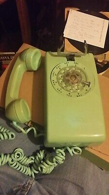 Vintage 1970's Western Electric 554 BMP Rotary Blue Green Wall Telephone