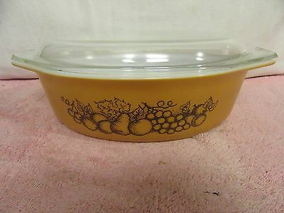 Vintage #045 Pyrex Old Orchard Oval Casserole Baking Dish w/Lids - 2.5 Quart