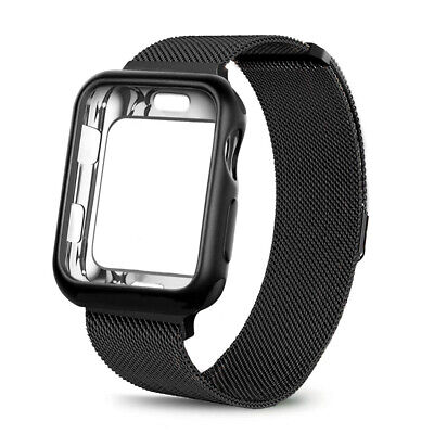For Apple Watch 1/2/3/4 Black 42mm Magnetic Milanese Loop Band iWatch Strap