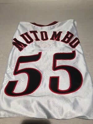 294fe26b3 DIKEMBE MUTOMBO  55 PHILADELPHIA 76ers RETRO WHITE CHAMPION AUTHENTIC  JERSEY 56