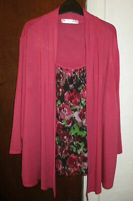 Mayfair House Stretch Pink 3/4 Sleeve Cardigan & Faux Top 16