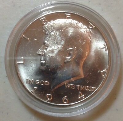 1964d BU Kennedy Silver Half Dollar In Air Tight Capsule From Roll, Uncertified