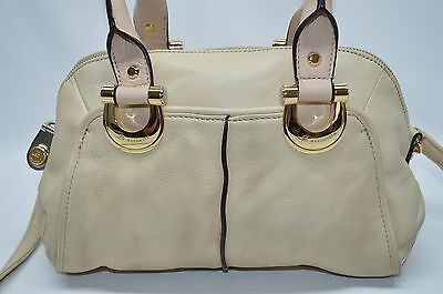 REDUCED B Makowsky Beige Genuine Soft Leather Small Convertible Satchel Bag