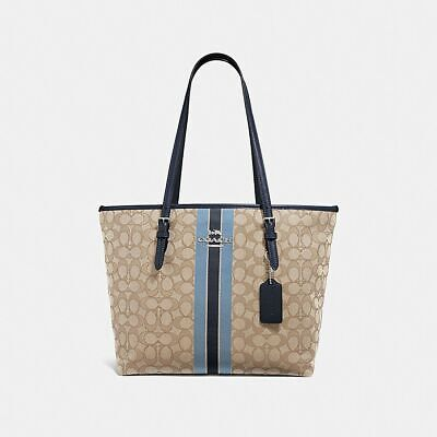 947c4ac82f7f NWT Coach Zip Top Tote In Signature Jacquard With Stripe In Khaki Blue-MSRP