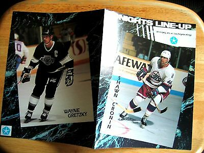 Vintage 1990 NHL Winnipeg Jets vs LA Kings Game Line-up Program wi Wayne Gretzky