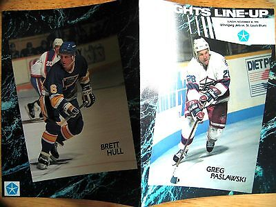 Vintage 1990 NHL Winnipeg Jets vs St. Louis Blues Game Line-up Program wi B Hull