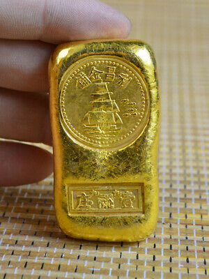 Valuable old brass not gold Collection coin Republic of China decorate art top