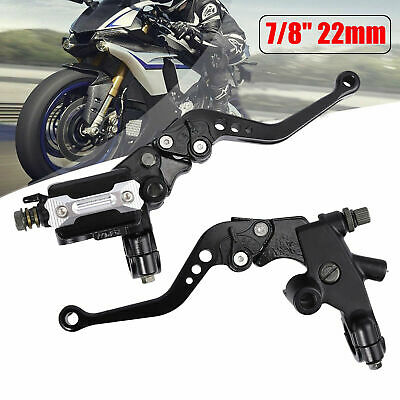 """Pair 7/8""""Universal Red Scooter Motorcycle Brake Clutch Master Cylinder Levers UK"""