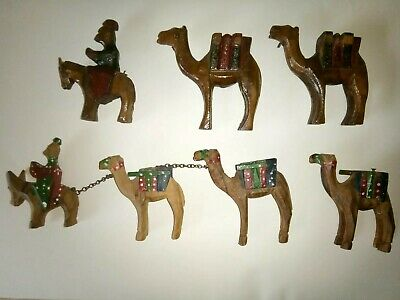 2 X Vintage Carved Wooden  Camel Train Caravan Lead By Man On Donkey Hand Made