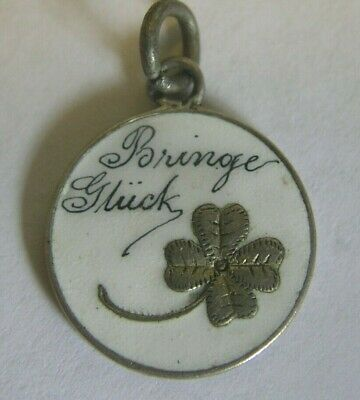 Superb Antique German Enamel & Silver Lucky Clover Charm ~ I'll Bring Good Luck