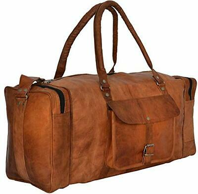 22 Inch Square Duffel Travel Gym Sports Overnight Weekend Leather Bag