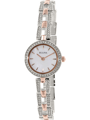BULOVA Women's Silver & Rose Gold Crystal Mini Watch Mother of Pearl Dial 98L212