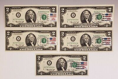 Lot Of 5 1976 Consecutive First Day Issue $2 Bills Two Dollar Crisp Uncirculated