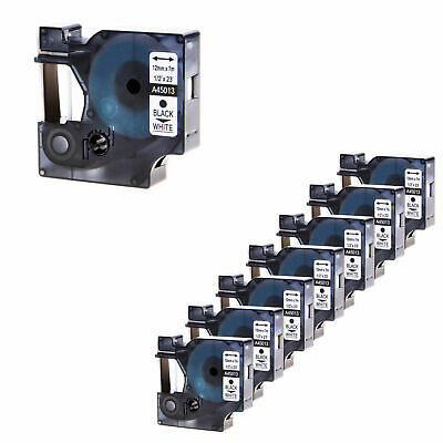 8x 45013 Label Tape Compatible for DYMO D1 Office Cassette Black on White 12mm