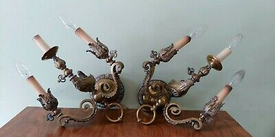 2 RARE VICTORIAN SOLID  Brass GAS CONVERTED Aladdin Genie ANTIQUE SCONCES