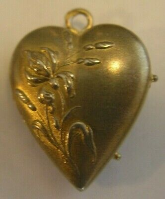 Superb Antique French Gilded Silver Iris Flower Heart Locket Pendant
