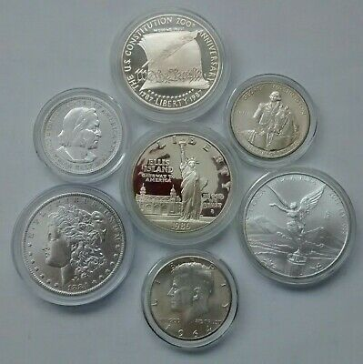 7 Silver Coins -  Dollars & Halves All In Air-Tite Capsules + Libertad - A DEAL