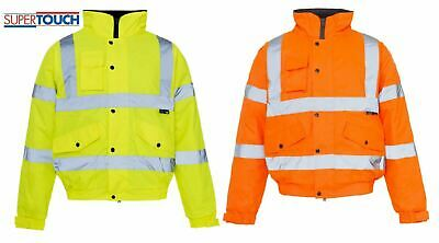 Mens Hi Vis Visibility Viz Premium Safety Bomber Jacket Fleece Lined Work Wear