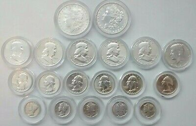 19 Silver Coins Good Grade - Dollars/Halves/Quarters (a 1932) /Dimes In Capsules