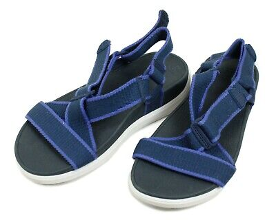 1eb502fb0ee5 Fitflop Blue White Micro Wobble Board Comfort Size 7 Velcro Walking Sandals
