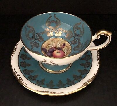 Aynsley Tea Cup and Saucer Orchard Fruit Teal Blue with Gold Accent