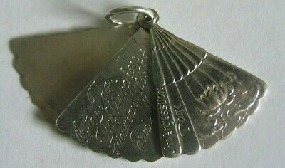Rare Antique Austrian Silver Water Lily Fan Charm ~ Opens ~ Unforgettable Days