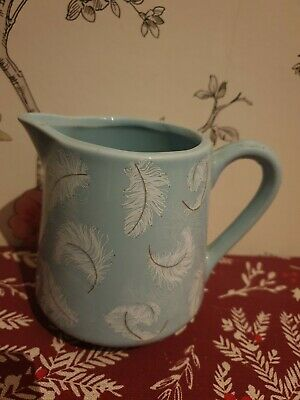 Marks And Spencer Small Blue and White Feather Print Jug Vase