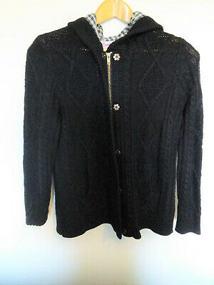 John Baner Black Hooded Chunky Wool Zip cardigan 14 casual warm knit