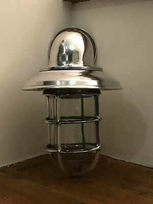 Antique Industrial Wall Light Bulkhead Vintage Cage Silver Ship Lamp Aluminium