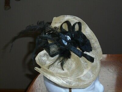 Fascinator, Large Special Occasion Gold with Black Flower and Feather Decoration