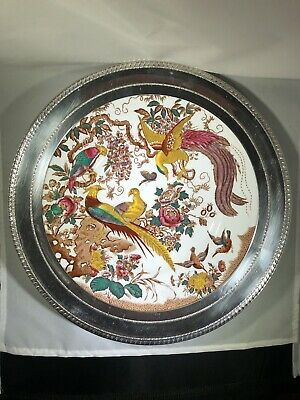 "Royal Crown Derby Olde Avesbury Bone China Dinner Plate 10 1/2"" Sterling Silver"