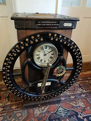 Antique Radial time recording machine - clock-in machine, early 1900s