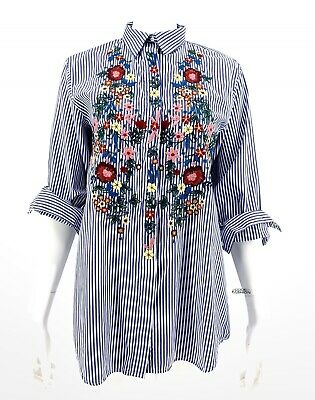 cae13fb0a1 Zara Embroidered Striped Oversized Shirt SZ XS Floral Button Down Blue Top  Chic
