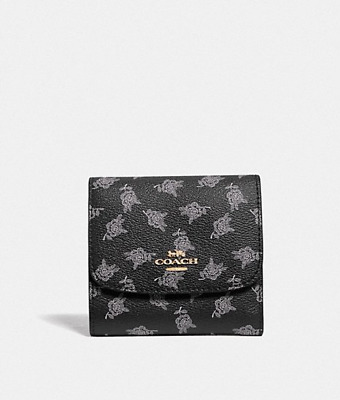 44ceeda02ea8 NWT Coach BLACK MULTI Small Trifold Snap Wallet with Calico Peony  F39224-New 135