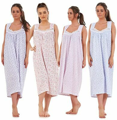 Ladies Plus Size Nightwear Floral Print 100% Cotton Sleeveless Long Nightdress