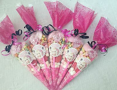 10x Barbie Themed Pre Filled Party Cones Personalised +free Sweety Bag